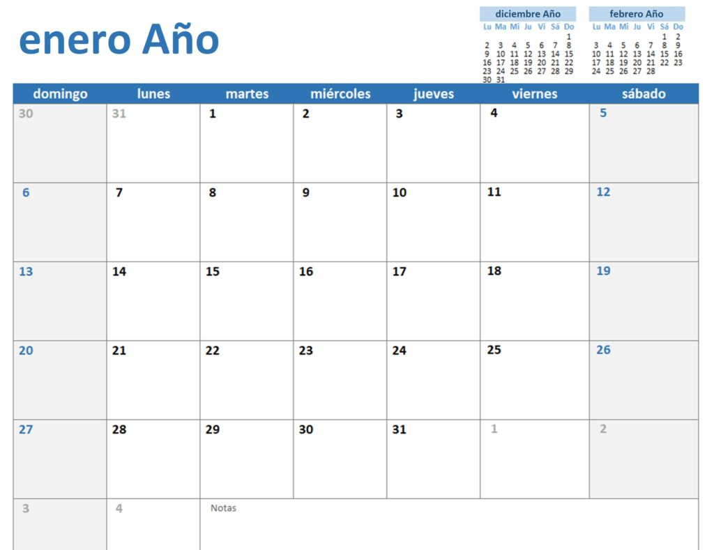 Pantalla principal de Calendario Office
