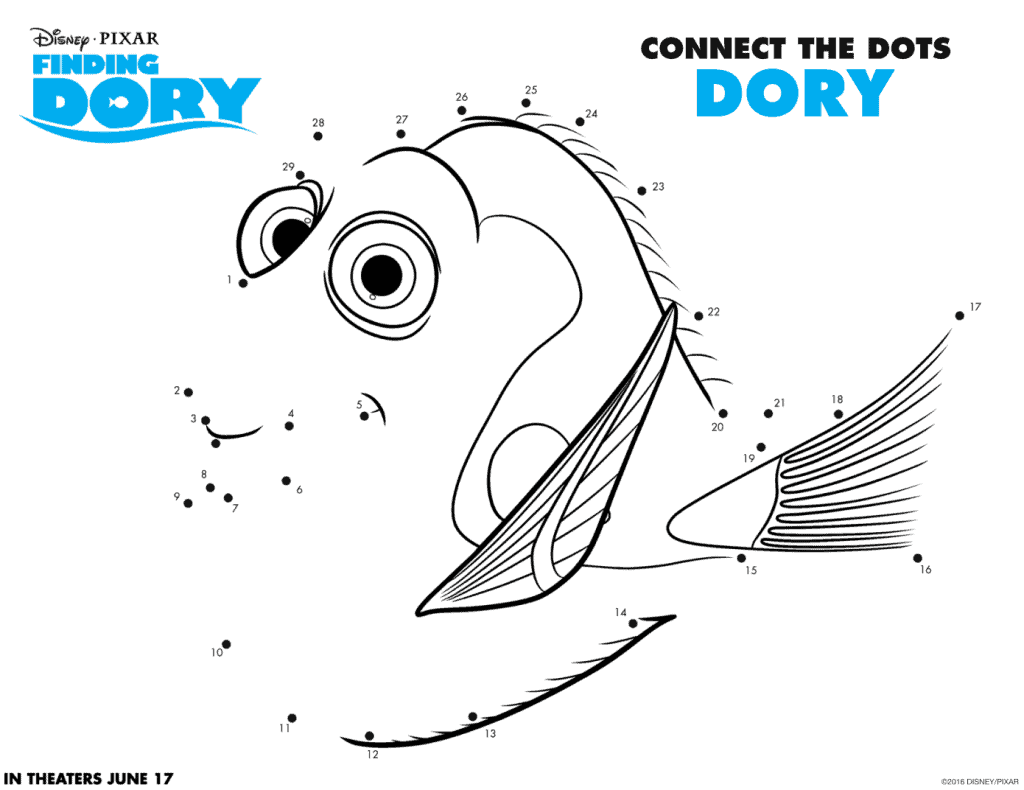 Finding Dory Connect The Dot Sheets