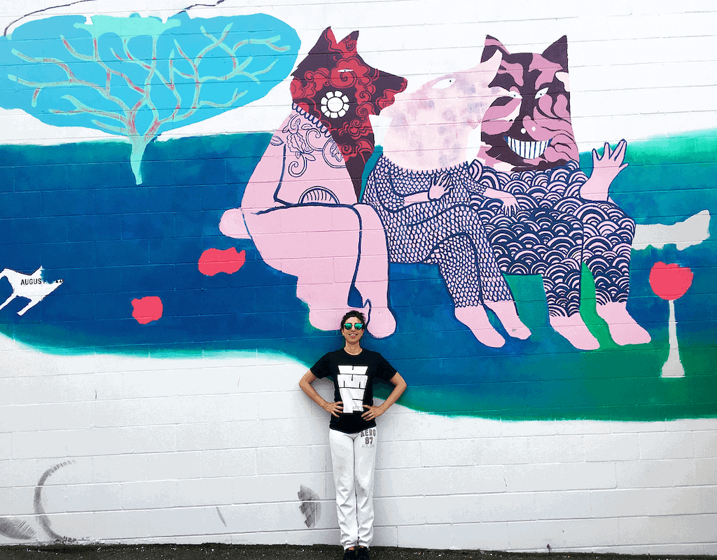 Recycled. Mural by Sara Khan. Vancouver Mural Festival 2018.