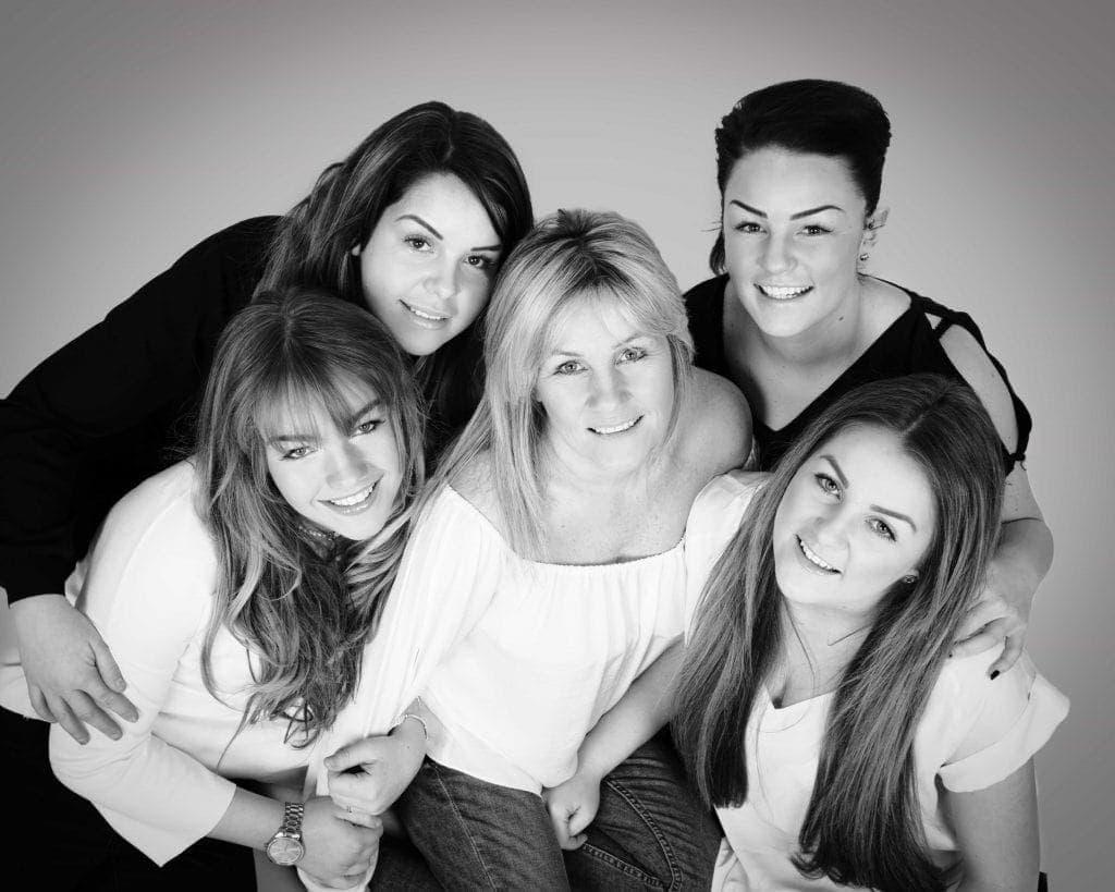 Mum and Daughters studio Photoshoot Cheshire Black & white image