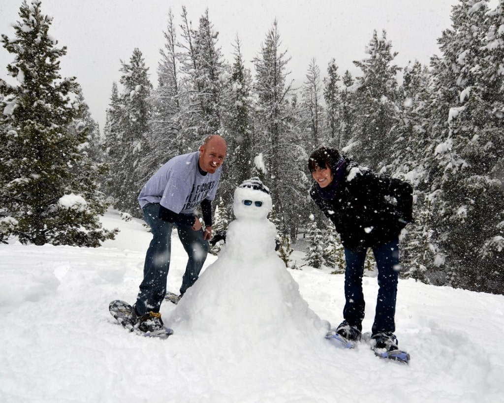 Building a snowman on our first trip to the Rocky Mountains where we really embraced winter