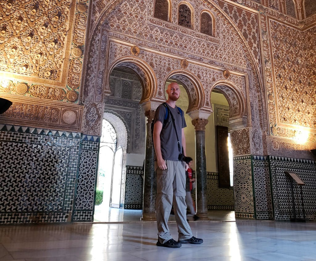 standing in sevilla spain real alcazar