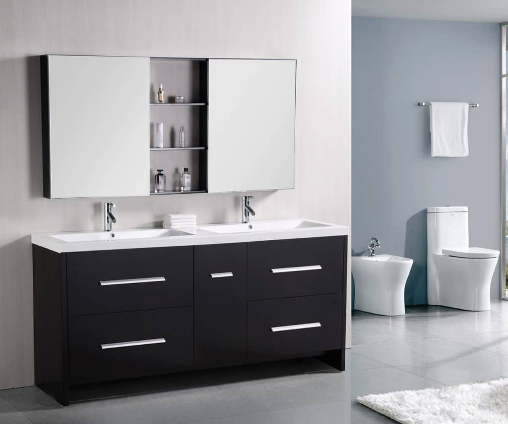 Design Element Perfecta Double Integrated White Acrylic Drop-in Sink Vanity Set, 72-Inch