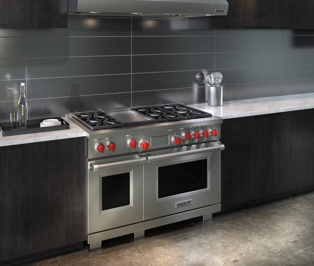 image of a Wolf DF486G installed in a kitchen