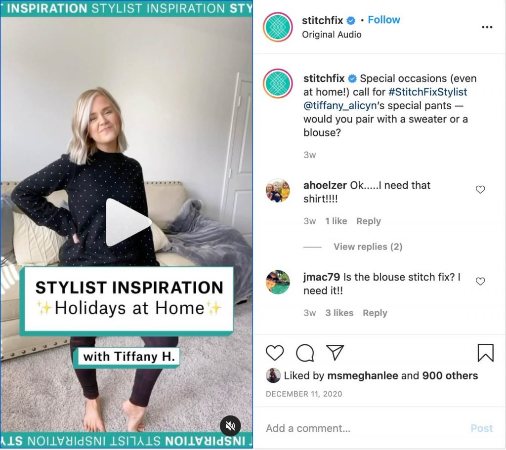 stitchfix video thumbnail on IG