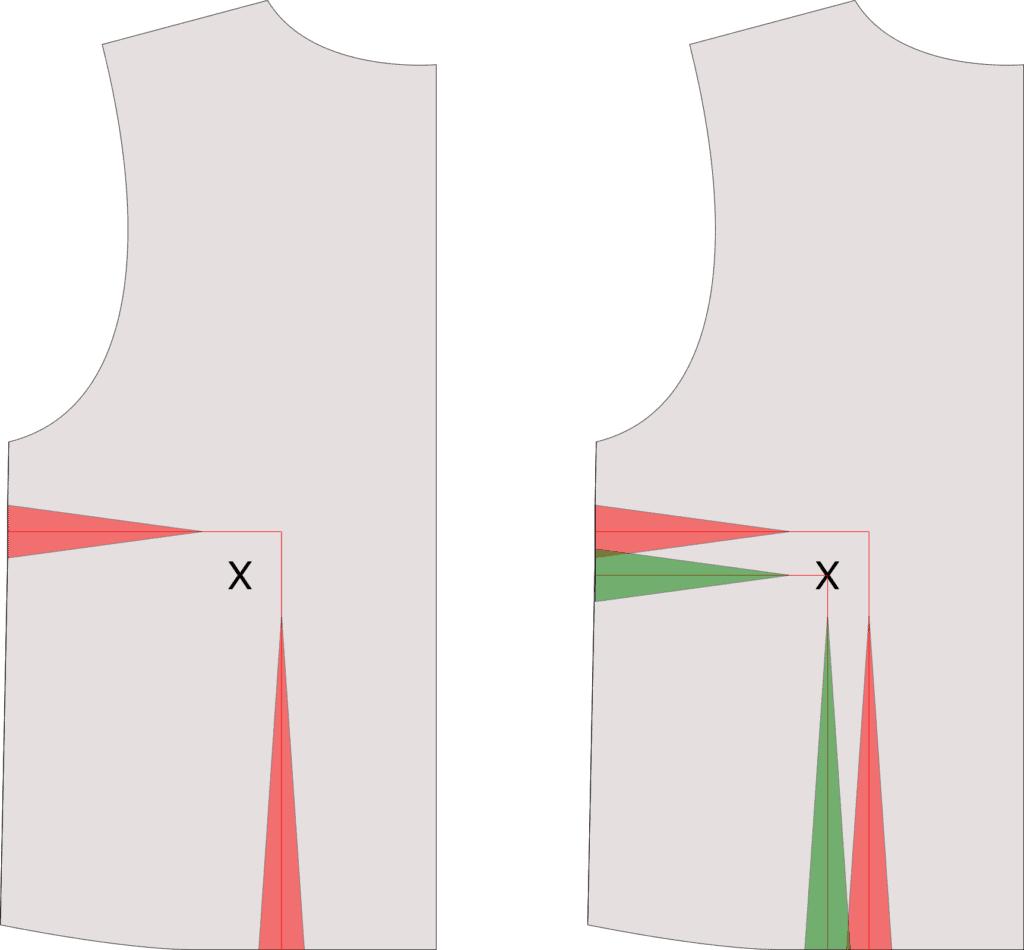 FBA Schnittanpassung bei Oberteil mit zwei bestehendem Abnähern