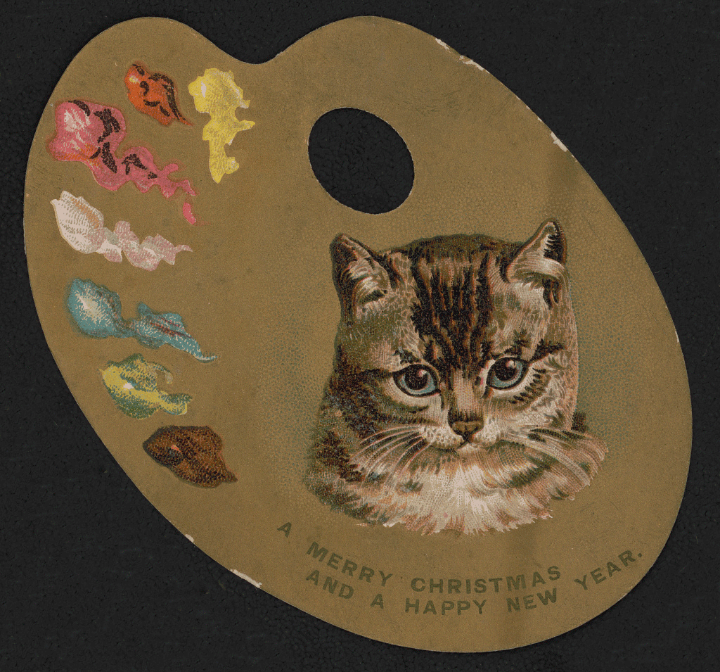 A Merry Christmas and a Happy New Year with the head of a kitten. Via Library of Congress, between 1880 and 1890.