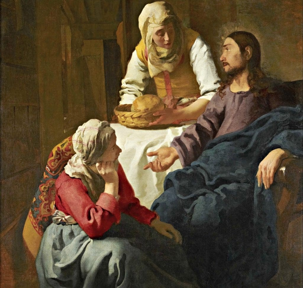 How to Use Artwork to Experience God? Encountering God through art keeps our minds off distractions like those depicted in this painting of Jesus, Mary and Martha. Martha hovers over the seated Christ with a basket of bread. The artist catches her midsentence. Mary sits at his feet with her mouth closed.