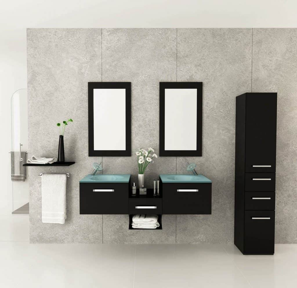 Estrella Double Vessel Sink Modern Bathroom Vanity Furniture Set