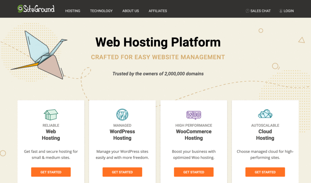 Screenshot of Siteground hosting page