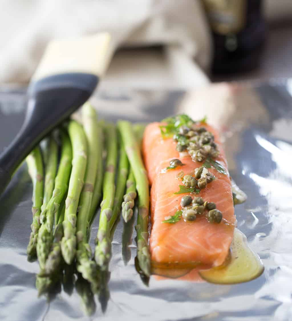 Salmon with caper olive oil marinade