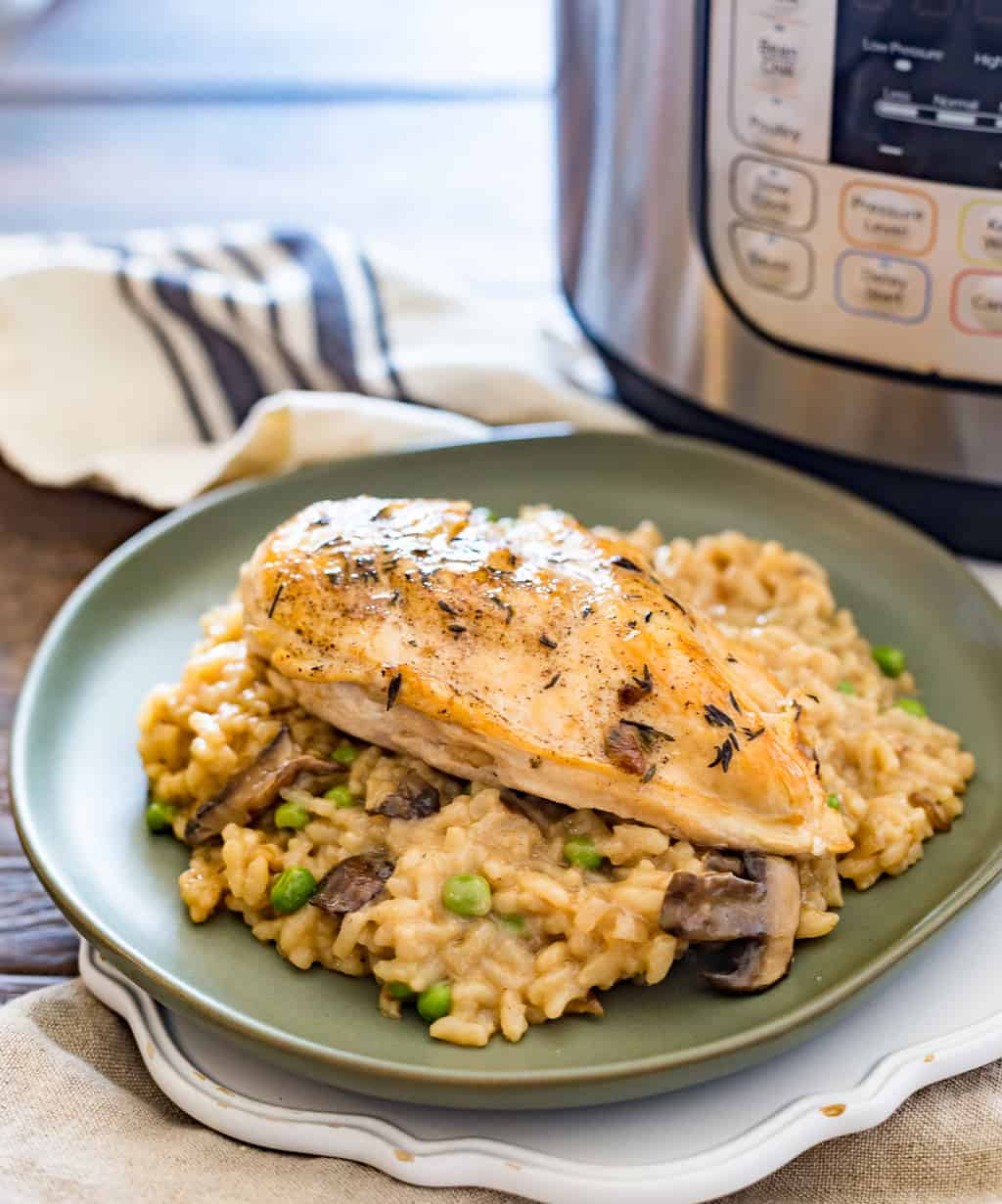 Instant Pot Chicken Risotto with Instant Pot in the background