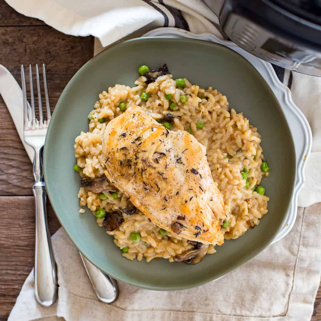 Instant Pot Chicken Risotto from Above