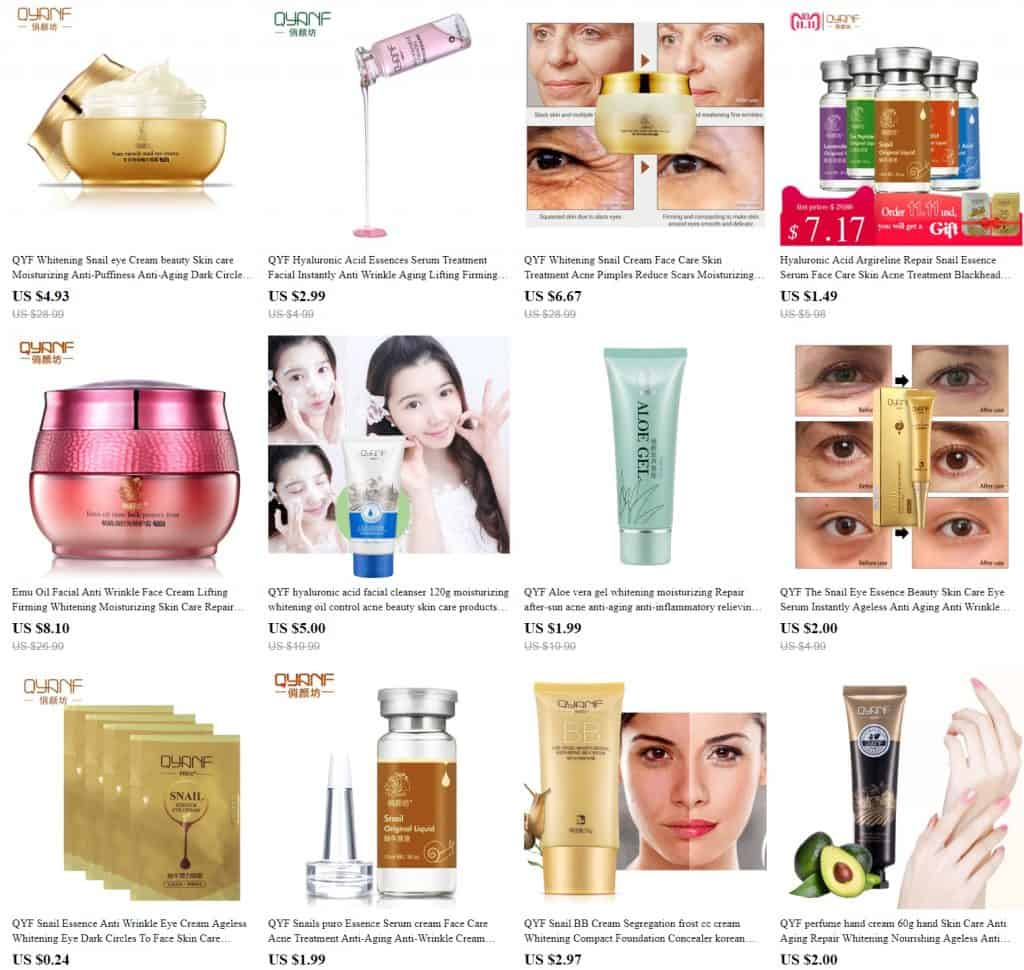 AliExpress Beauty Product Skincare Trusted Cheap Wholesale Price Safe Serum Handcream China Cosmetics QYF1