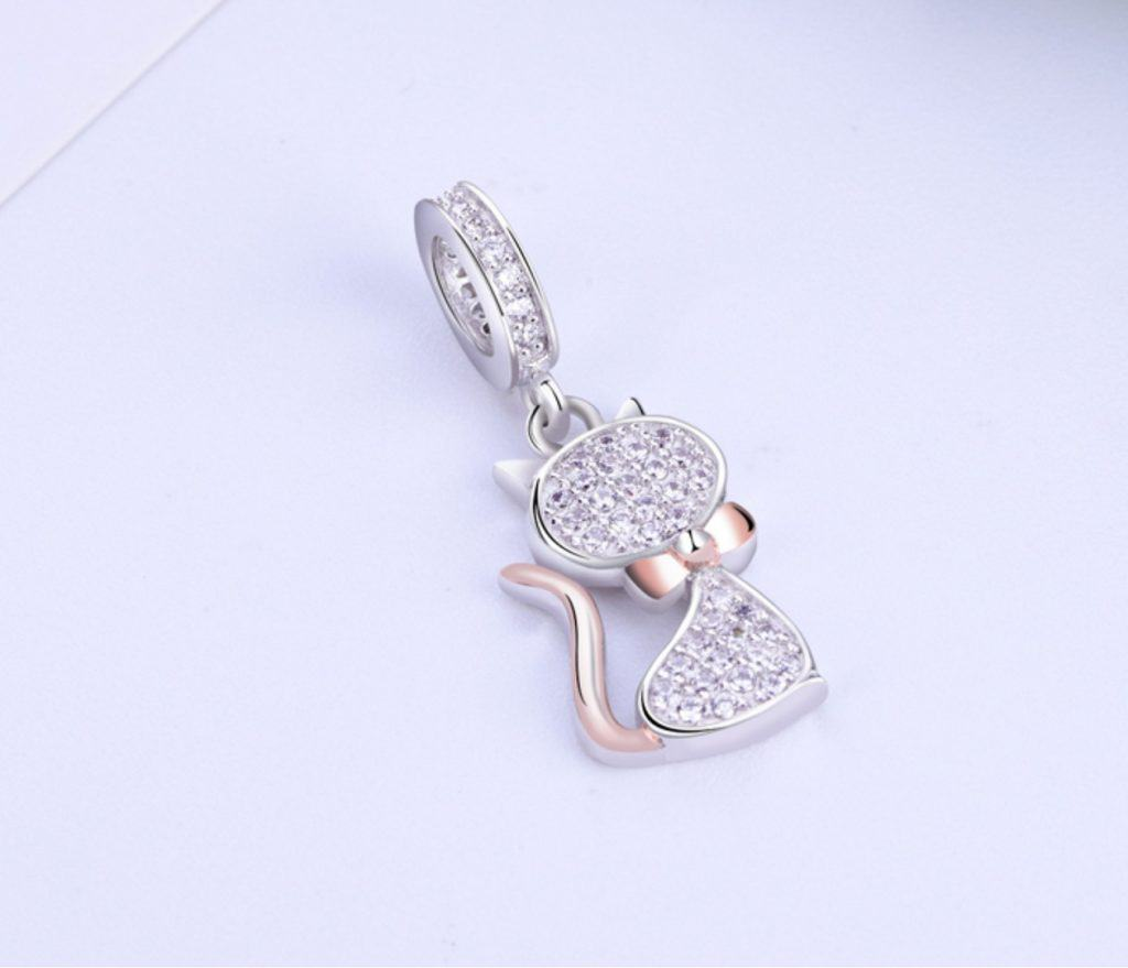 Pandora Charm Replica Bracelet Pendant Jewelry 925 Sterling Silver AliExpress Crushed Diamond Cat Cute Kitty Authentic 100% 925 Sterling Silver Bead