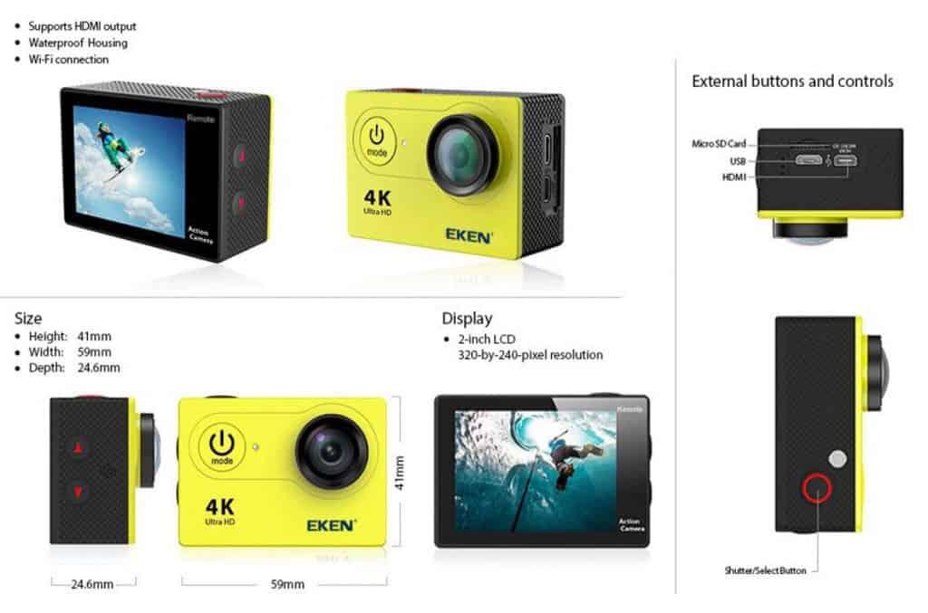 GoPro Alternatives Copy Cheap Action Camera Best Video Quality AliExpress Eken 4k Camera 4