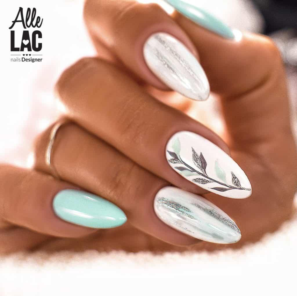delikatny manicure hybrydowy w listki