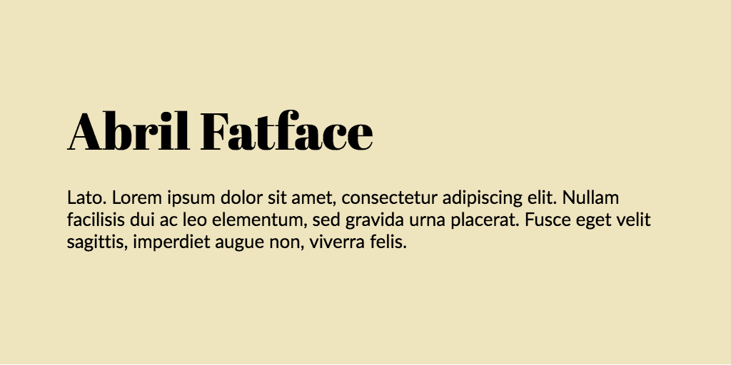 Abril Fatface & Lato font combination