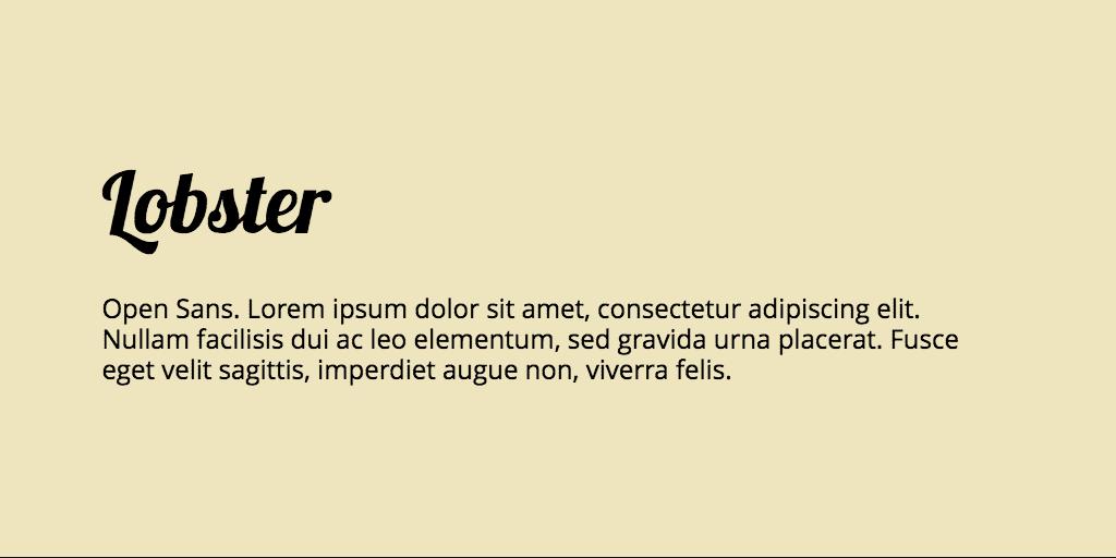 Lobster & Open Sans font combination