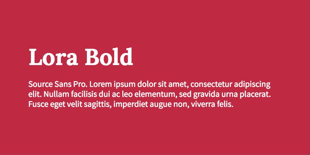Lora & Source Sans Pro font combination