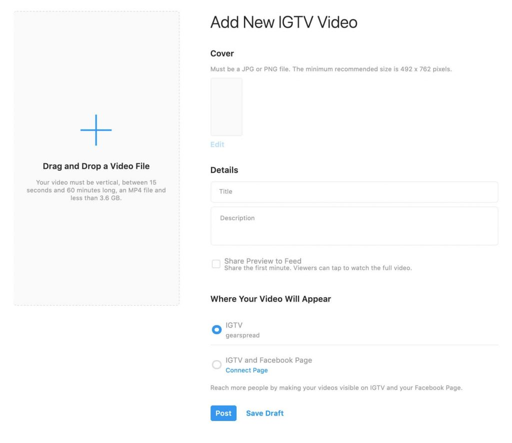 Add new IGTV video from desktop
