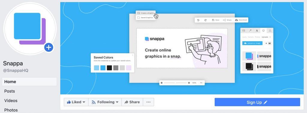 Snappa facebook cover photo on desktop