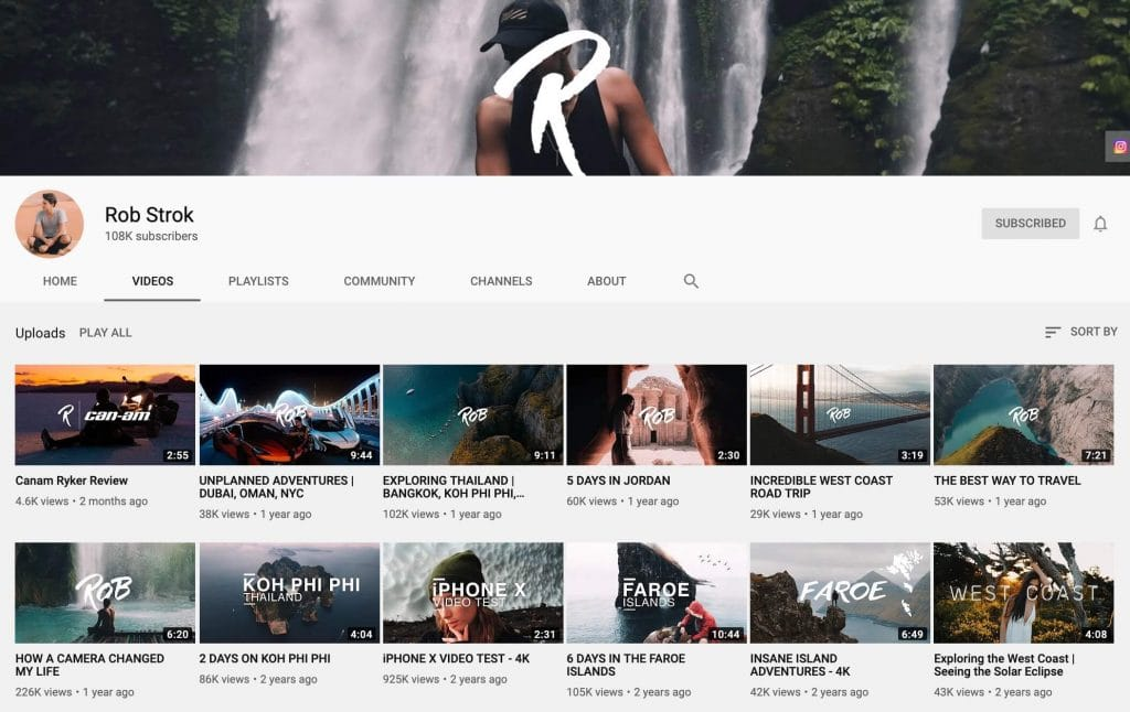 Rob Strok YouTube channel font