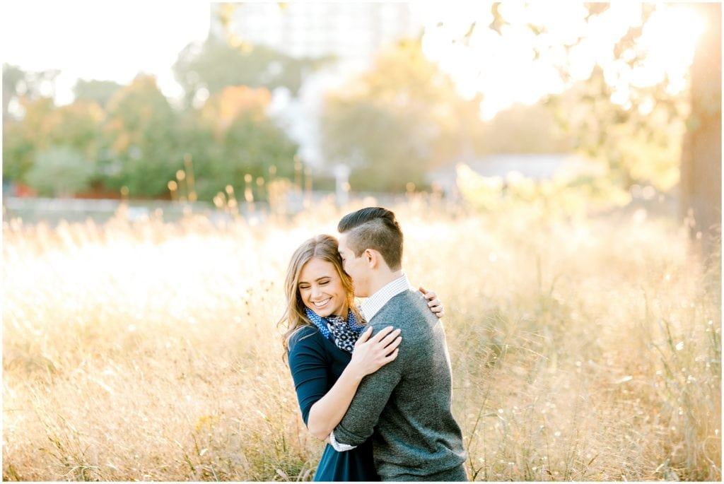 couple posing for engagement session pictures at golden hour in Chicago downtown Lincoln park