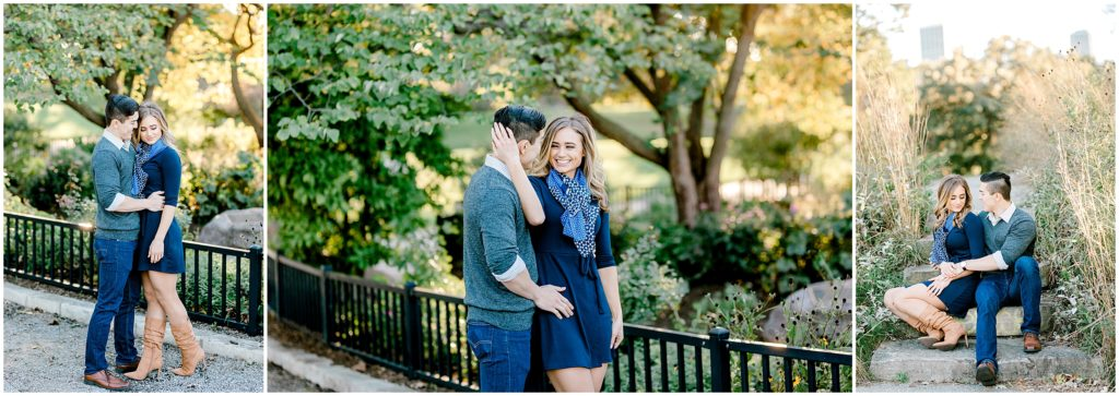 engaged couple having their engagement pictures done in Chicago Lincoln park zoo by the Honeycomb