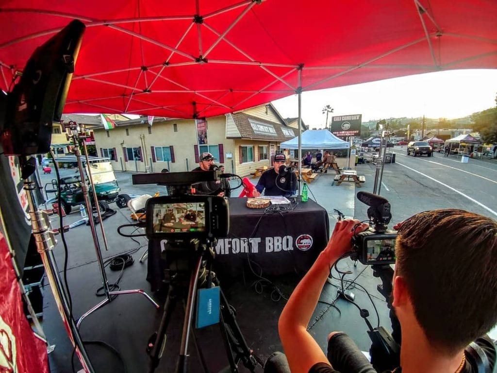 "Recording the Cali BBQ Media podcast ""Digital Hospitality"""