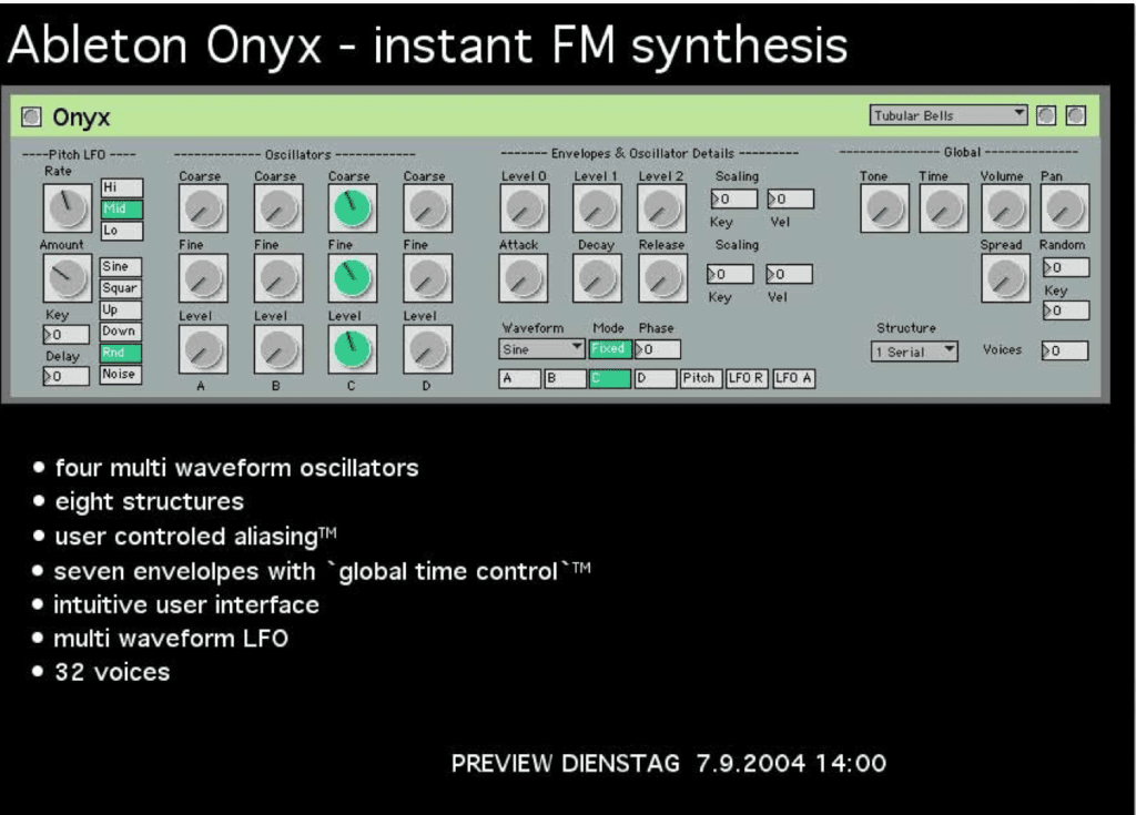 Ableton's Operator is native, not coded in Max. But Robert Henke produced this Max/MSP prototype.