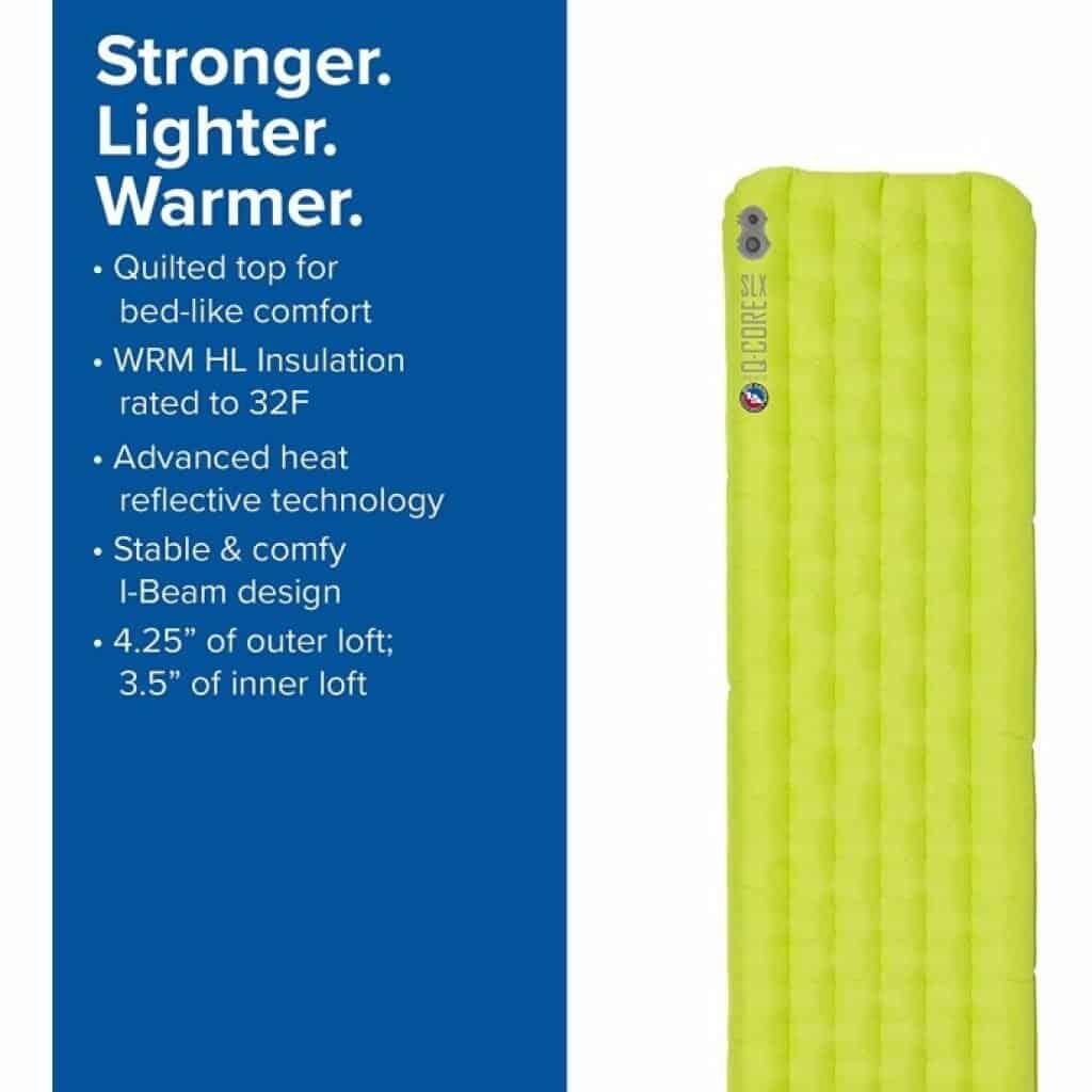 Big Agnes Q Core SLX Ultralight Sleeping Pad features