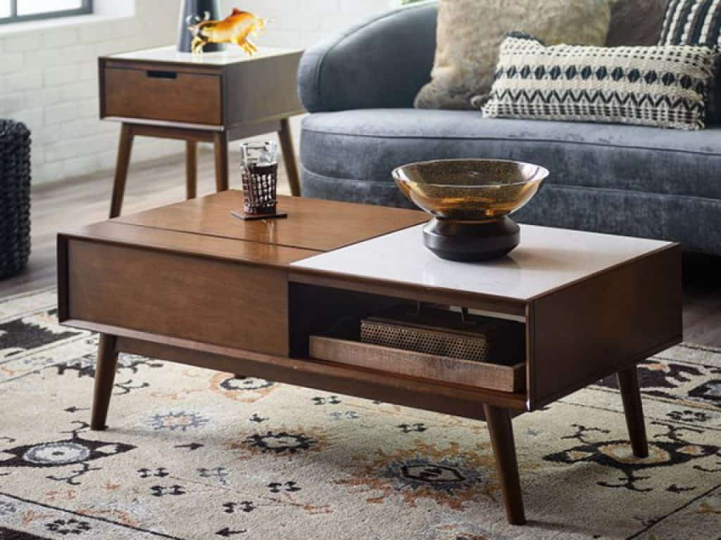 Belham Living Campbell Mid Century Modern Lift Top Marble Coffee Table
