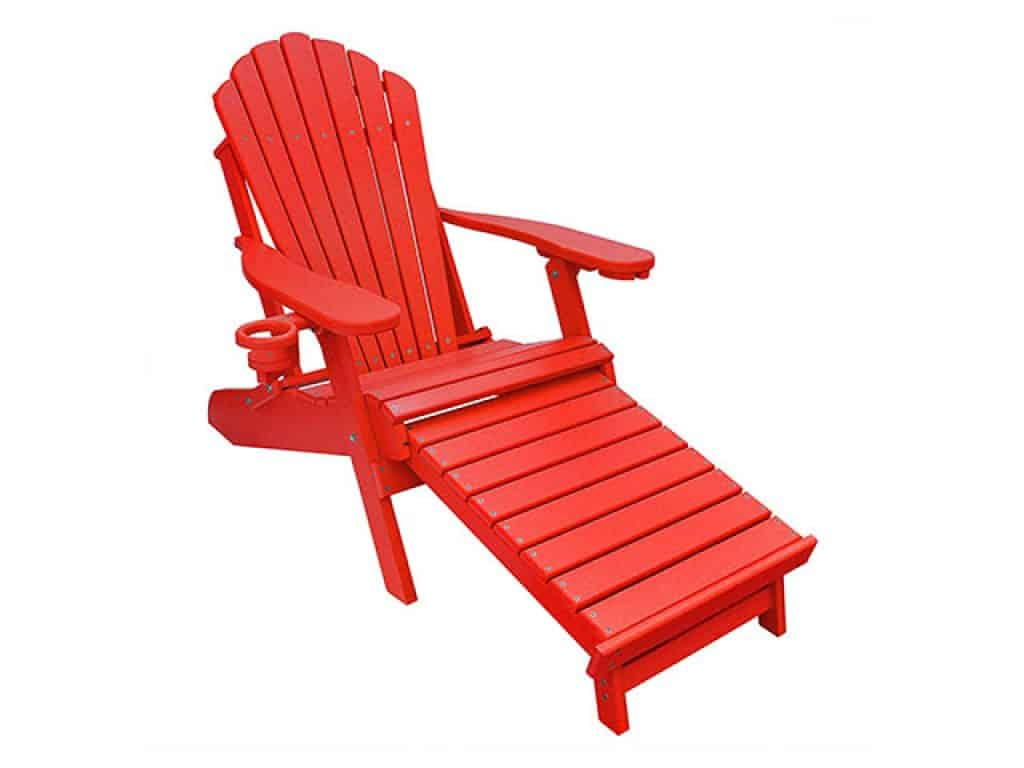 ECCB Outdoor Outer Banks Deluxe Oversized Poly Lumber Folding Adirondack Chair with Integrated Footrest