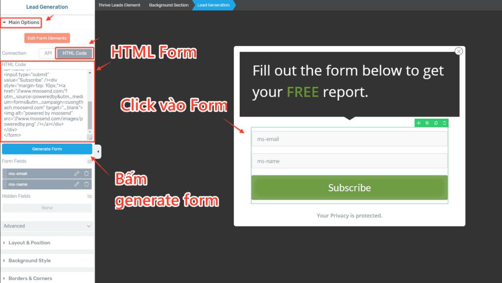 Nhung Html Form Tu Email Marketing Vao Thrive Leads