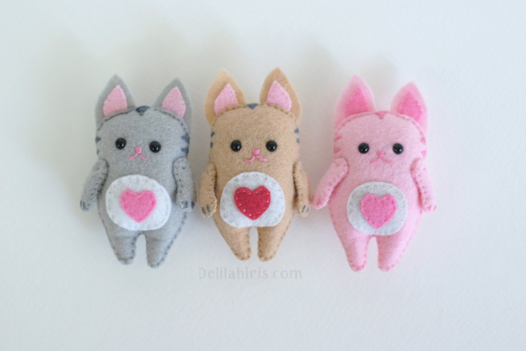 felt kawaii kittens pattern