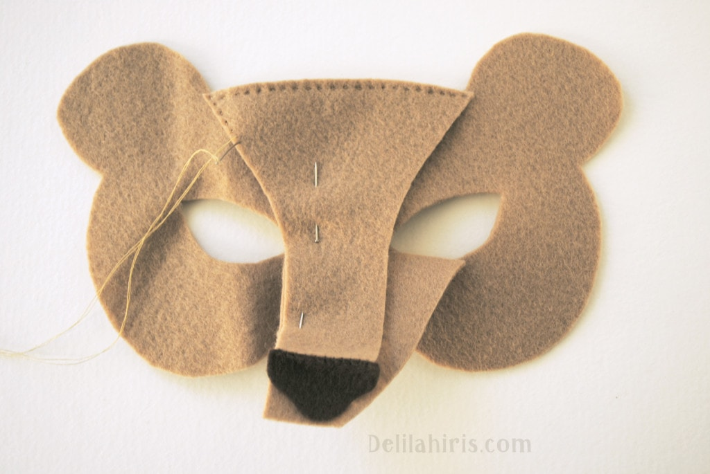 sewing felt bear mask