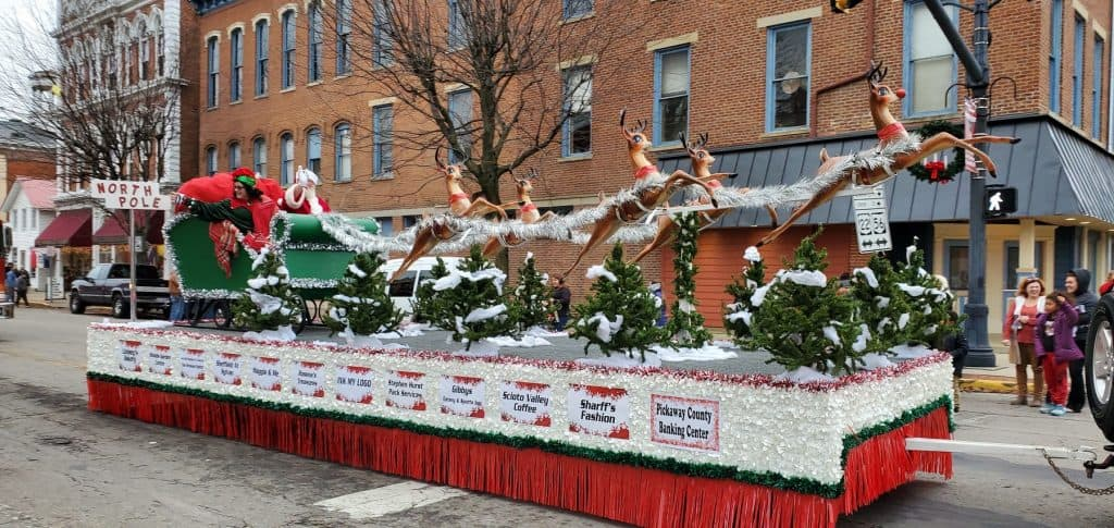 Santa Claus in his sleigh during the Roundtown Christmas Parade