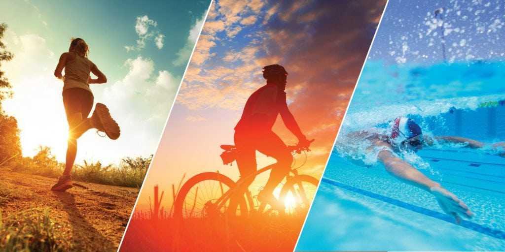 walking, swimming, bicycling