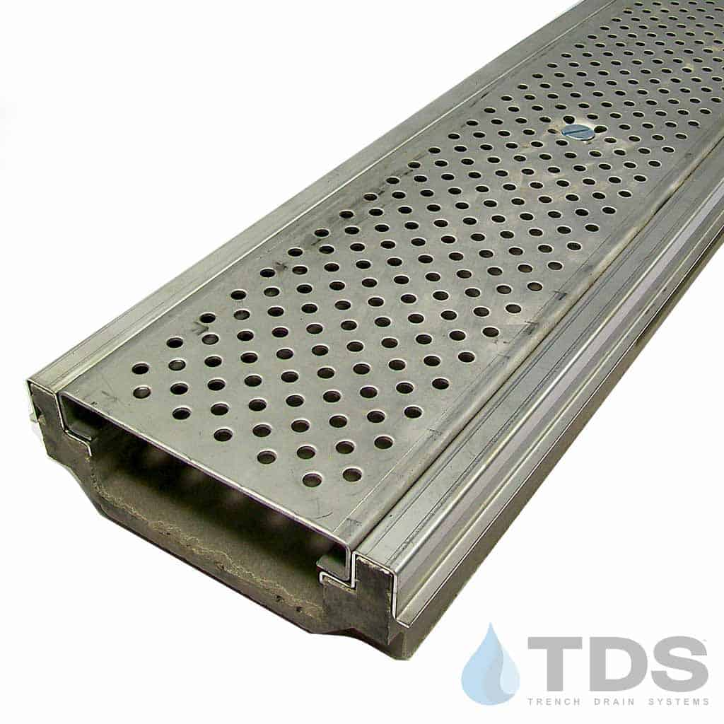 POLY500-SS-657-TDSdrains stainless steel perforated grate stainless steel edge shallow profile polymer concrete channel Polycast