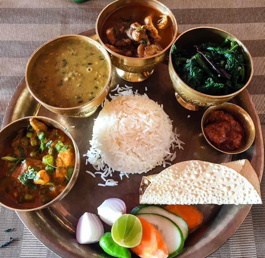 Thali at Gokarna Forest Resort Kathmandu
