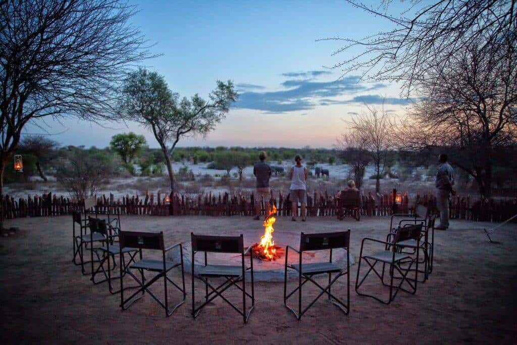 Sitting around the campfire in Botswana, Africa
