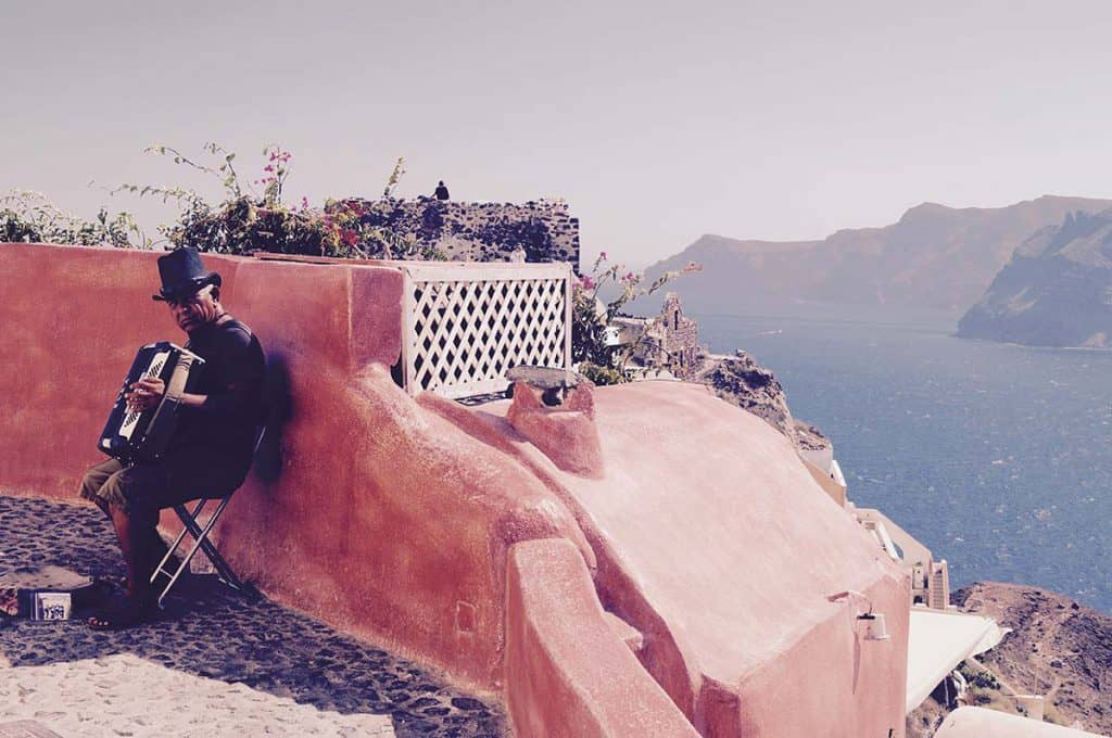 Street Musician in the streets of Santorini Island