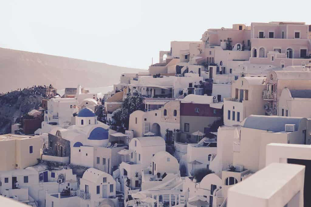 A village climbing up the hill in Santorini