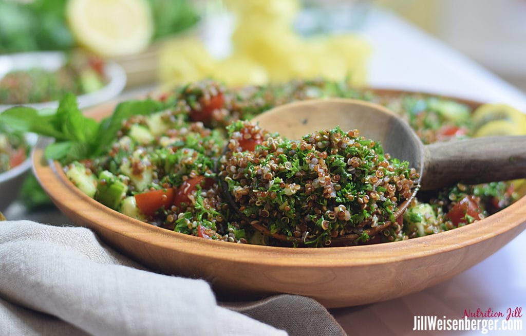 quinoa salad in a wooden bowl