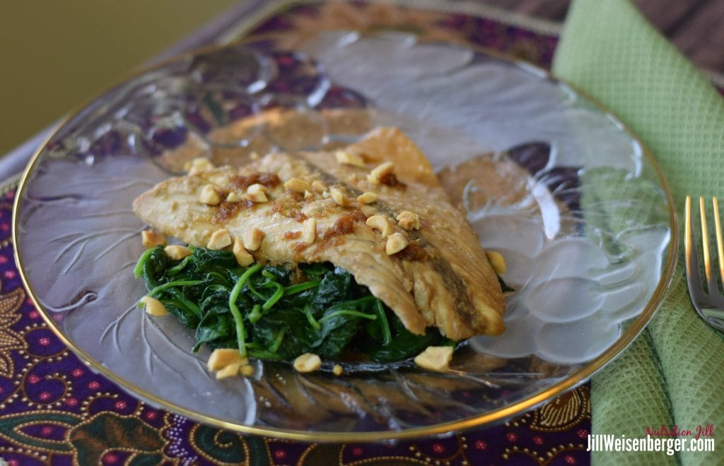 Asian-style Barramundi on spinach