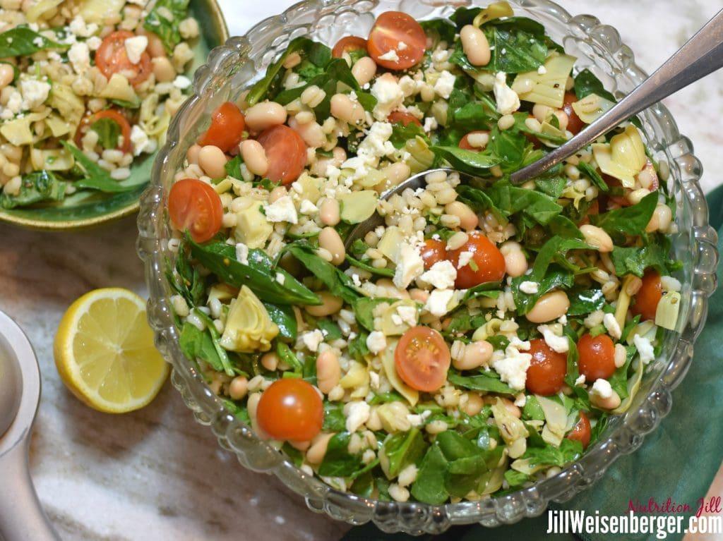 Bean and Barley Salad in Bowls