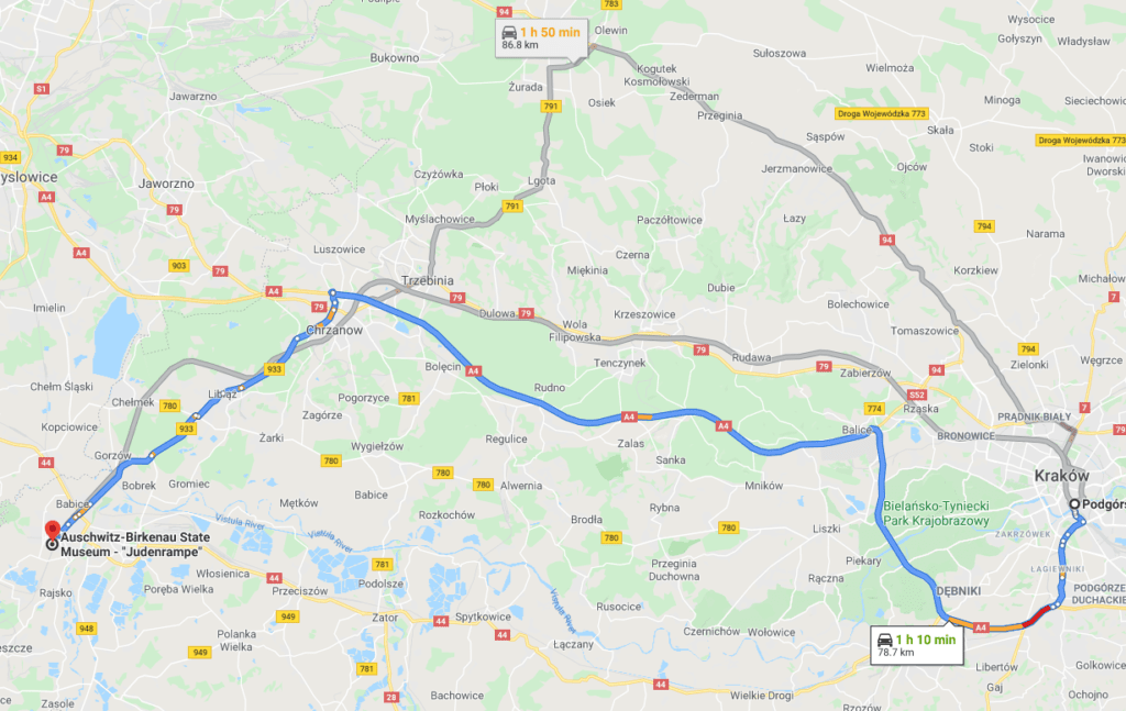 A map showing a route from Krakow to Auschwitz by car