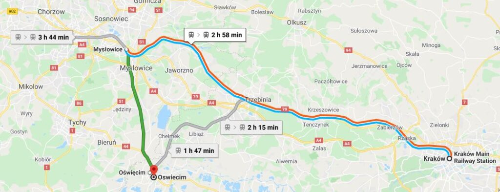 A map showing train routes from Krakow to Auschwitz