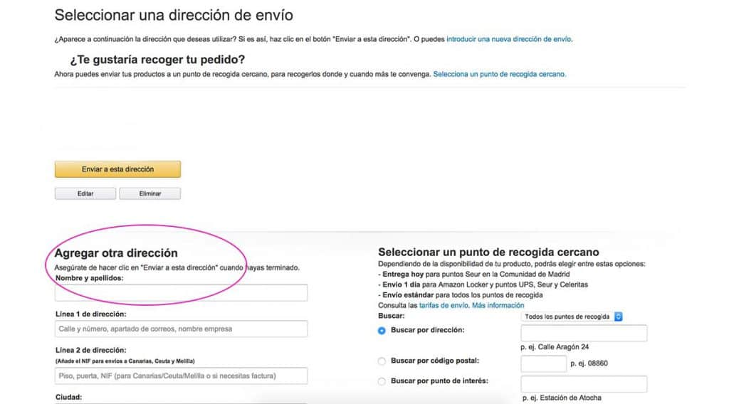 Dirección alternativa en Amazon? No hay problema!